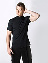 cheap -Latin Dance Tops Men's Performance Spandex Pleated Short Sleeve Natural Tops