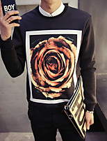 cheap -Men's Casual/Daily Sweatshirt Print Round Neck Micro-elastic Polyester Long Sleeve Winter