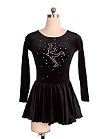 cheap -Figure Skating Dress Women's Girls' Ice Skating Dress Black Spandex Inelastic Performance Practise Skating Wear Solid Long Sleeves Ice