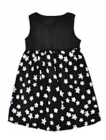cheap -Girl's Daily Going out Floral Dress,Cotton Summer Sleeveless Cute Casual Black