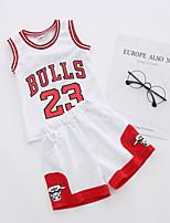 cheap -Boys' Print Clothing Set,Cotton Summer Sleeveless Active White Black Red