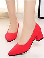 cheap -Women's Shoes PU Spring Comfort Heels Chunky Heel Pointed Toe Closed Toe for Casual Champagne Red Black