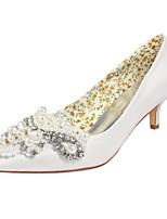 economico -Da donna Scarpe Raso elasticizzato Primavera Estate Decolleté scarpe da sposa Basso Appuntite Cristalli Perle per Formale Serata e festa