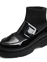 abordables -Femme Chaussures Gomme Printemps Automne Confort Bottes Talon Bottier Bout rond Bottes Mi-mollet pour Noir