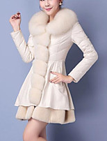 cheap -Women's Going out Casual/Daily Street chic Winter Fall Fur Coat,Solid V Neck Long Sleeve Regular Faux Fur Fur Trim