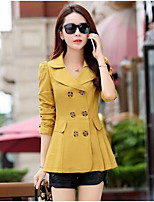 cheap -Women's Daily Casual Fall Trench Coat,Solid Peter Pan Collar Long Sleeve Short Cotton