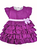 cheap -Girl's Birthday Daily Solid Dress,Cotton Spring, Fall, Winter, Summer Short Sleeves Casual Purple