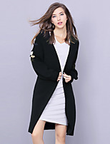 cheap -YHSP Women's Going out Casual/Daily Simple Street chic Sophisticated Regular Cardigan,Solid V Neck Long Sleeves Polyester Nylon Winter Fall
