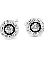 cheap -Circle Silver Cufflinks Imitation Diamond Alloy Dresswear Daily Formal Men's Costume Jewelry