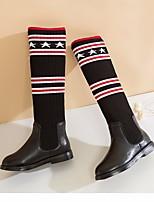 abordables -Fille Chaussures Polyuréthane Hiver Automne Confort Bottes à la Mode Bottes Cuissarde pour Décontracté Noir