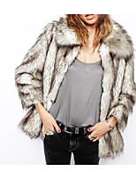 cheap -Women's Casual/Daily Simple Winter Fall Fur Coat,Print Shirt Collar Long Sleeve Regular Cotton Oversized