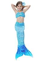 abordables -The Little Mermaid Falda Niño Halloween Festival / Celebración Disfraces de Halloween Amarillo Fucsia Cian Oro Arco iris Sirena