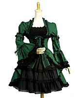 cheap -Gothic Lolita Dress Vintage Punk Elegant Women's Adults' Girls' One Piece Dress Cosplay Green Puff/Balloon Short Sleeves Knee Length