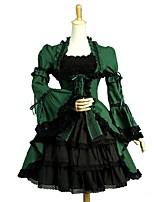 Gothic Lolita Dress Vintage Punk Elegant Women's Adults' Girls' One Piece Dress Cosplay Green Puff/Balloon Short Sleeves Knee Length