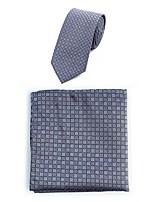 Homme simple Décontracté Polyester Cravate,Jacquard Toutes les Saisons Gris