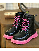 cheap -Girls' Shoes Leatherette Winter Fall Comfort Combat Boots Boots Walking Shoes Mid-Calf Boots Lace-up For Casual Black White