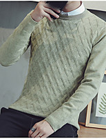 cheap -Men's Going out Casual Street chic Long Pullover,Solid Round Neck Long Sleeves Polyester Spring Fall Thick Inelastic