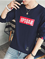 cheap -Men's Plus Size Going out Sweatshirt Print Round Neck Micro-elastic Polyester Long Sleeve Autumn/Fall