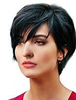 cheap -Women Human Hair Capless Wigs Beige Blonde//Bleach Blonde Medium Auburn Natural Black Short Natural Wave Layered Haircut Side Part