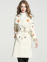 cheap -Women's Casual/Daily Work Simple Sophisticated Winter Fall Trench CoatSolid Notch Lapel Long Sleeve Long Polyester Embroidered