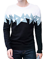 cheap -Men's Daily Work Casual Active Street chic Regular Pullover,Solid Print Color Block Round Neck Long Sleeves Polyester Spandex Japanese
