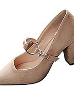Недорогие -Для женщин Обувь Искусственное волокно Зима Осень Удобная обувь Обувь на каблуках Блочная пятка Заостренный носок для Повседневные Черный
