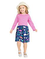 cheap -Girl's Daily Holiday Striped Print Dress,Cotton All Seasons Long Sleeves Cute Casual Fuchsia