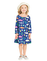 cheap -Girl's Daily Holiday Print Dress,Cotton All Seasons Long Sleeves Cute Casual Navy Blue