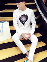 cheap -Men's Petite Casual/Daily Simple Set Solid Floral Round Neck Without Lining Micro-elastic Polyester Long Sleeve Fall