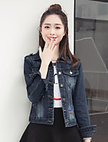 cheap -Women's Daily Street chic Fall Denim Jacket,Solid Shirt Collar Long Sleeve Regular Cotton