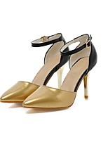 Women's Shoes Leatherette Summer Ankle Strap Heels Stiletto Heel Pointed Toe Buckle for Wedding Party & Evening Silver Gold