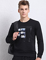 economico -Petite Felpa Da uomo Semplice Altro Con stampe Rotonda Cintura non inclusa Media elasticità Cotone Manica lunga Autunno