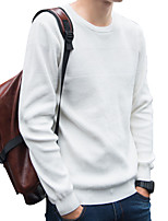 cheap -Men's Daily Work Casual Active Street chic Regular Pullover,Solid Round Neck Long Sleeves Polyester Japanese Cotton Elastane Winter Fall