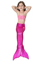 cheap -The Little Mermaid Swimwear Bikini Kid Christmas Masquerade Festival / Holiday Halloween Costumes Fuschia Green Blue Pink Solid