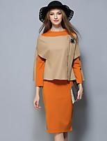 Feminino Conjunto Vestidos Conjuntos Casual Simples Outono,Sólido Côr Pura Algodão Decote Redondo Manga Longa Micro-Elástica