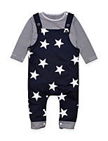 cheap -Baby Boys' Daily Going out Print Clothing Set,Cotton All Seasons Simple Casual Long Sleeve Blue