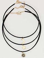 cheap -Women's Moon Star Classic Fashion Choker Necklace Layered Necklace , Leather Alloy Choker Necklace Layered Necklace , Daily