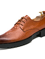 cheap -Men's Shoes Rubber Spring Fall Comfort Oxfords Walking Shoes Booties/Ankle Boots Ribbon Tie for Outdoor Brown Black