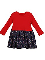 cheap -Girl's Casual/Daily Solid Patchwork Dress,Polyester Winter Fall Long Sleeves Simple Red