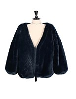Women's Going out Casual/Daily Simple Winter Fall Fur Coat,Solid V Neck Long Sleeve Regular Faux Fur Fur Trim