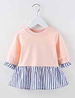 cheap -Girl's Going out Casual/Daily Solid Striped Dress,Cotton Spring Long Sleeves Simple Blushing Pink Gray