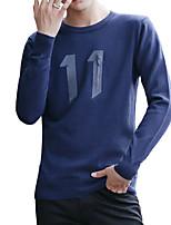 Недорогие -Для мужчин Повседневные Офис На каждый день Активный Уличный стиль Обычный Пуловер Однотонный С принтом,Круглый вырез Длинный рукав