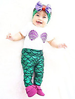 cheap -The Little Mermaid Outfits Kid Christmas Masquerade Festival / Holiday Halloween Costumes Green Color Block