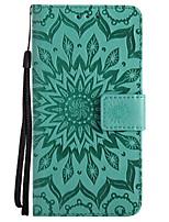 Недорогие -Кейс для Назначение Motorola C plus C Бумажник для карт Кошелек со стендом Рельефный Чехол Сплошной цвет Цветы Твердый Кожа PU для Moto Z