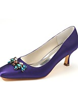 cheap -Women's Shoes Stretch Satin Spring Fall Basic Pump Wedding Shoes Low Heel Square Toe Crystal for Party & Evening Dress Dark Purple