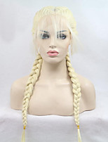 cheap -Braids Long Straight High Temperature Fiber Braieded Two Tones Synthetic Front Lace Wig With Baby Hair