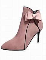 preiswerte -Damen Schuhe Beflockung Winter Modische Stiefel Stiefel Stöckelabsatz Spitze Zehe Booties / Stiefeletten Schleife für Normal Schwarz Rosa