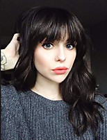 cheap -Women Human Hair Capless Wigs Natural Black Medium Length Wavy Layered Haircut With Bangs