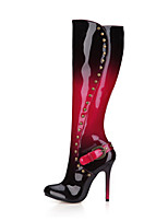 cheap -Women's Shoes PU Winter Fashion Boots Boots Stiletto Heel Round Toe Thigh-high Boots Rivet Buckle for Wedding Dress Black/Red