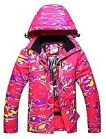 cheap -Women's Ski Jacket Warm Waterproof Windproof Wind Proof Skiing Camping / Hiking Ski/Snowboarding Back Country Polyester